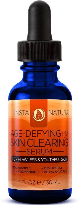 Vitamin C Serum 20% - With Retinol 2.5%, Salicylic Acid 2%, Hyaluronic Acid, & More - Best Natural Anti Aging & Skin Clearing Serum - Reduces Acne, Wrinkles, Fine Lines & Spots - InstaNatural - 1 OZ