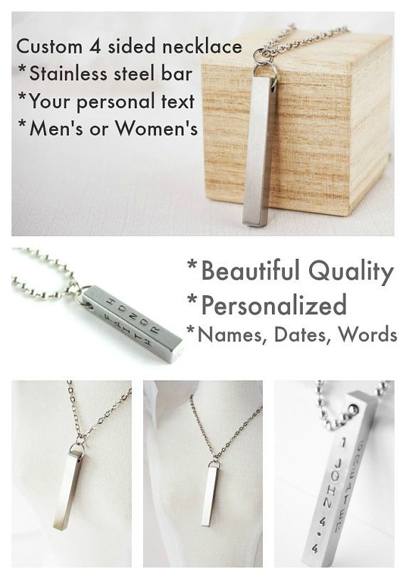Stainless Steel Bar Necklace - Mens - Womens - Matching Couples This necklace is a favorite for its superior quality - made of solid stainless steel