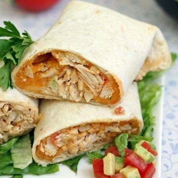 Baked Cheddar Chicken Chimichangas