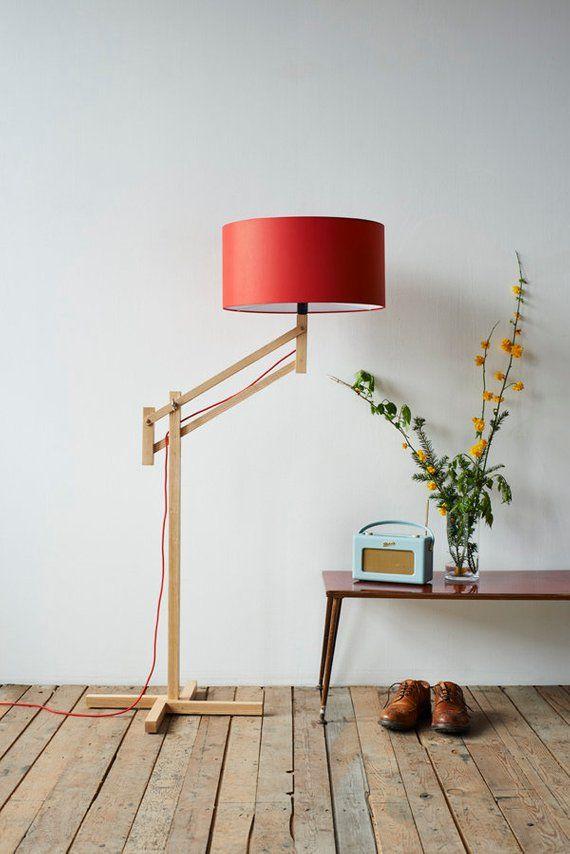 Adjule Floor Lamp Red Shade By