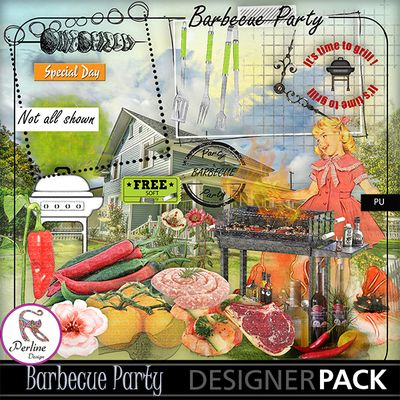 Spring and Summer are Barbecue Time, with family or with friends ! It's a pleasure to eat outside with people we love. Why not scrap those wonderful memories ? This kit is made of 79 elements and 11 papers. And there is also a small add-on. And many overlays to create your own papers if you like ! And a small price so that everybody can buy it !!! Have fun !