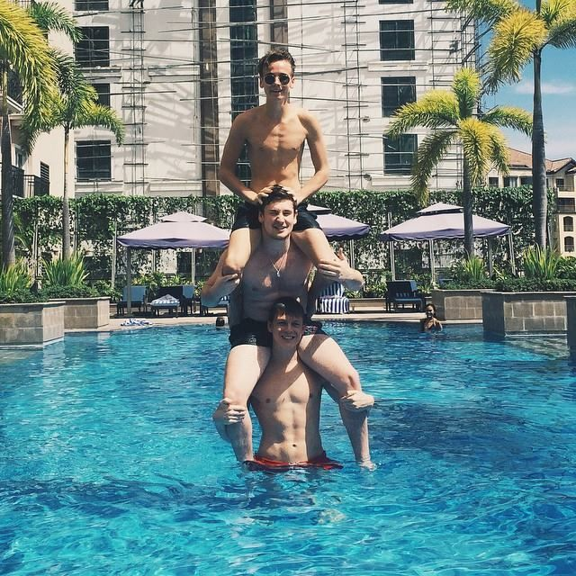 Joe Sugg, Oli White, and Caspar Lee in MANILA