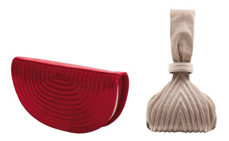 Raffiniert: Die Gretchen-Taschen überzeugen mit nie gesehenen Formen und strukturierter Oberfläche. Actress Clutch in Rot kostet aus Kalbsleder 179 Euro, aus Fischleder 255 Euro, Tango Pouch ist für 279 Euro zu haben