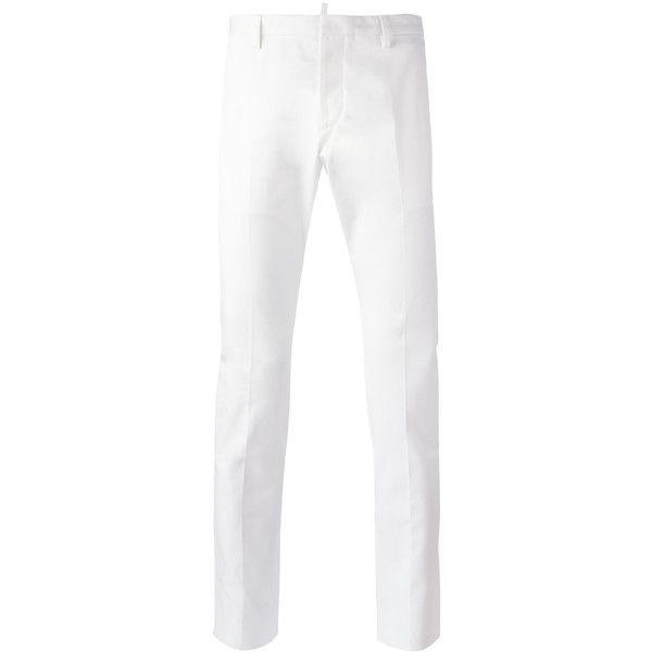 Dsquared2 - slim fit trousers - men - Cotton - 44 (7,085 EGP) ❤ liked on Polyvore featuring men's fashion, men's clothing, men's pants, men's casual pants, white, mens cotton pants, mens white cotton pants, mens slim pants, mens white pants and mens slim fit pants