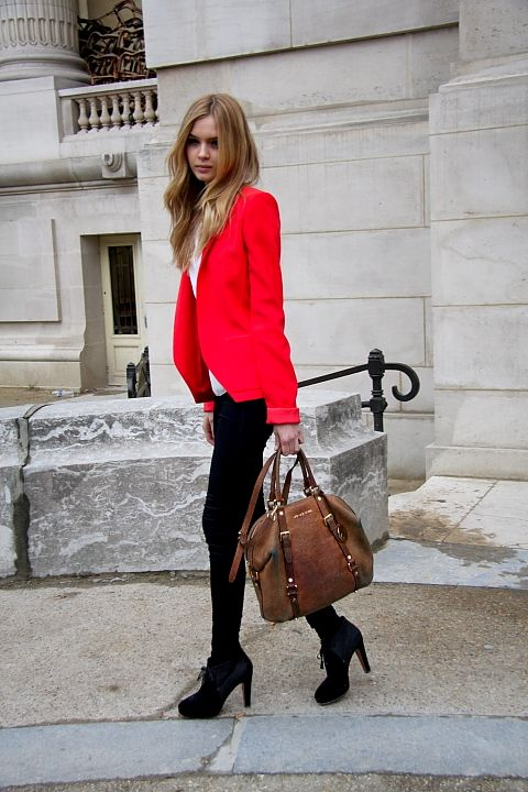 Go-to street style: black pants, chic boots, long-strap satchel, white shirt & bright pop of a blazer