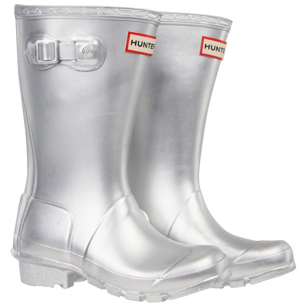 Hunter Original Kids Metalic Silver Wellington Boots showing the reflective strips on the back