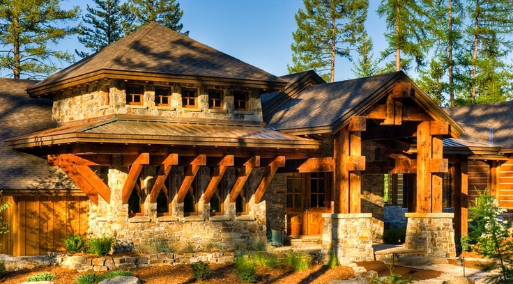 Do It Yourself Home Design: Entry Option-Award Winning Western Rustic Timber & Stone