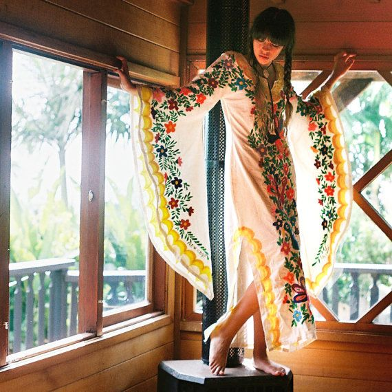 Mexican Embroidered Wedding Dress Bohemian Caftan by NewCropShop