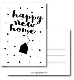 Deze kaart is nieuw in ons assortiment!A6 kaart met de tekst: 'Happy new home'. Leuk om te versturen als iemand net is verhuisd, maar ook leuk om te gebruiken als uitnodiging voor een housewarming. #housewarming #hooraythanks