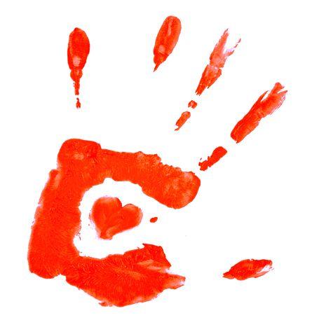 Punainen käsi sydämmellisesti
