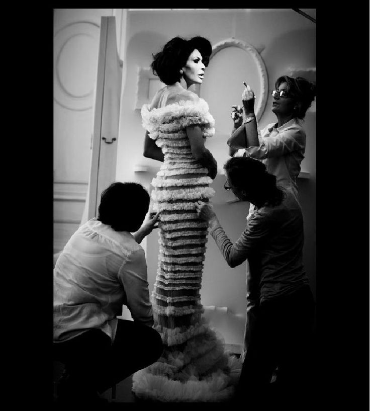 Mouna's fitting of her so-called wedding dress that was never to be. At Jean-Paul Gaultier salon. Lots of fun  to do fittings, but sad love story behind. Finally I wore it at Cannes Film Festival when I gave up on my fiancee.