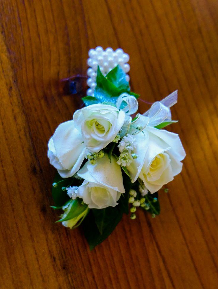 White Rose, Gypsophila, White & Gold Ribbon, White Bracelet - St Kents College Ball 2014 #rubyandblush#corsage#schoolball#prom#aucklandflorist#floristauckland