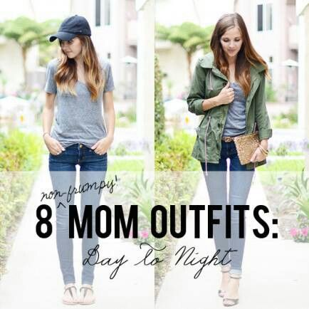 """Mom Fashion"" doesn't need to be frumpy housedresses + fluffy slippers. Check out these 8 stylish mom outfits! http://www.babble.com/style/8-mom-outfits-day-to-night/"