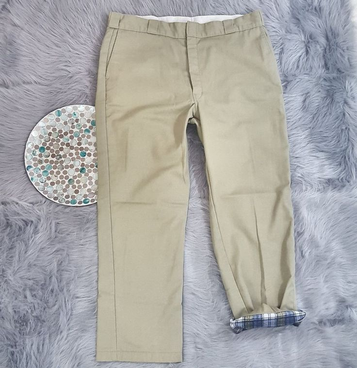 Dickies Mens Pants Size 40x30 Flat Flannel Lined Khaki Chino Work Slacks o19 #Dickies #Work