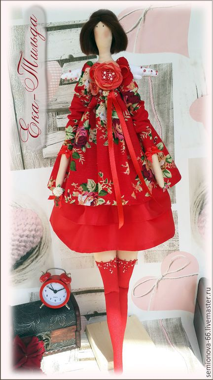 Купить Ангел Тильда Красная Роза - ярко-красный, тильда, огненный, яркая кукла