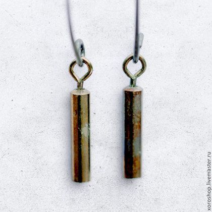серебряные серьги с титановой трубочкой - висюльки,серьги,Серьги-висюльки