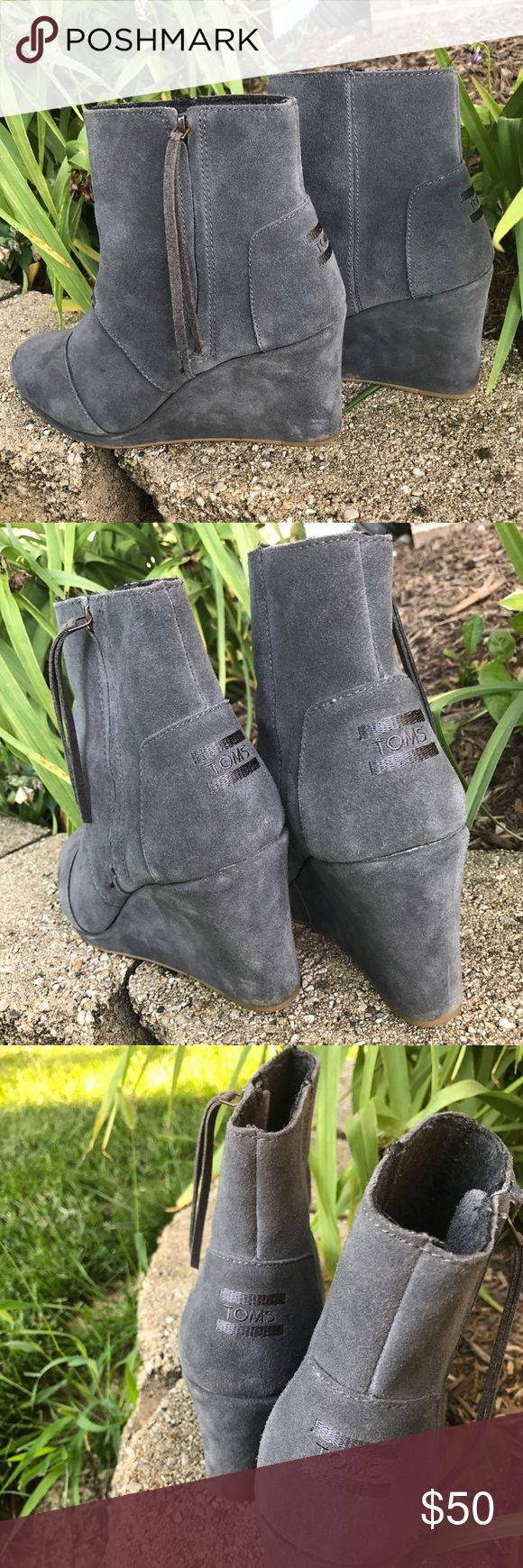 Worn once Toms desert wedges in dark grey Great condition and super cute with any outfit. You can dress them up or down let me know if you have any questions! Toms Shoes Wedges
