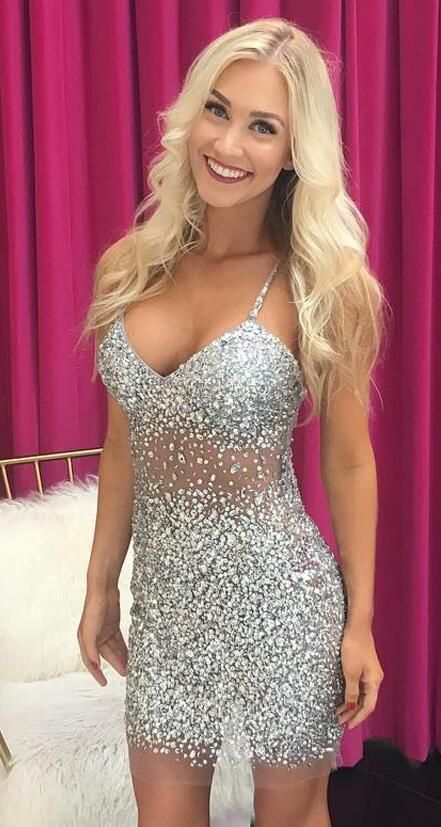 Sequined Crystals Sheer Tulle Prom Dresses ,Beading Prom Dress,SHort Prom Dress,Cheap Hmecoming Dress,Sexy Short Homecoming Dresses, Mini Cocktail Party Dress with Spaghetti Straps
