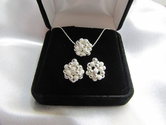 Earrings and pendant sterling silver beaded ball jewelry