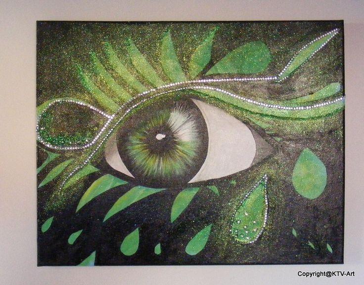 """ Dragon Eye"" acryl op canvas 50 x 40 Green with Sparkle"