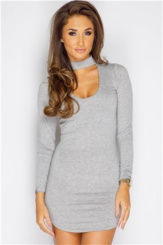 Megan McKenna Grey Choker Neck Dress