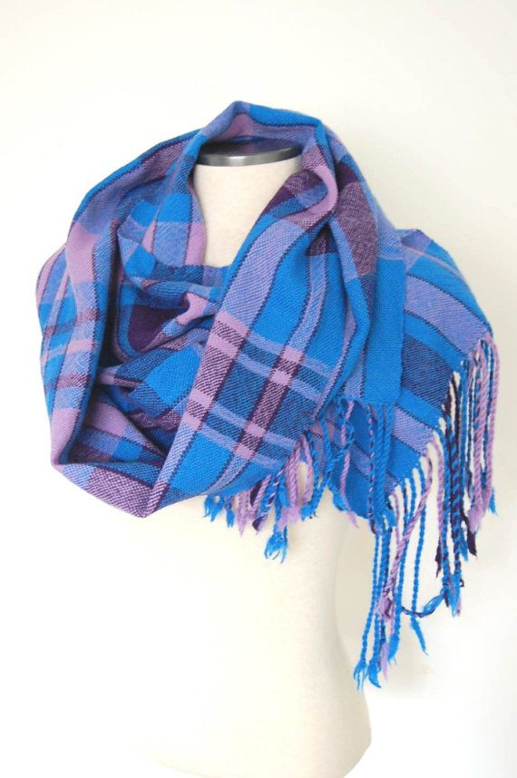 Handwoven Tartan Scarf Plaid Blanket Scarf by LocallySewnTextiles