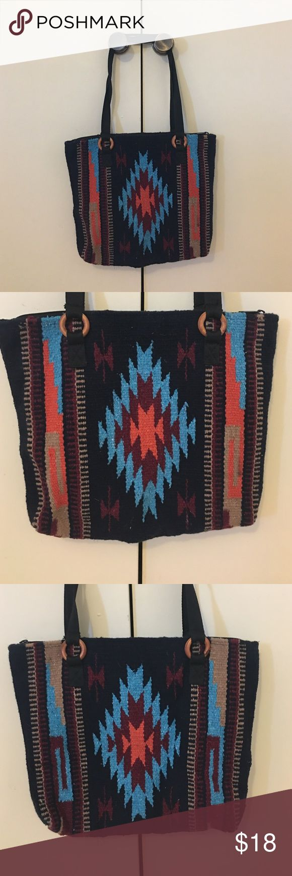 Navajo print shoulder bag Brand new without tags Navajo rug bag with zipper and cloth straps. Beautiful colors and very spacious! custom Bags Shoulder Bags