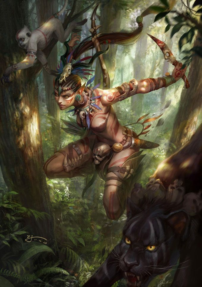 Jungle Warrior - artist unknown. Having been through thousands of 'character design' images, most of which are beautifully rendered and accomplished, this is one of the few that has dynamism, a sense of movement. So many of the others see like perfectly formed marionettes, character creation by numbers. This image  has life. - Remagineit'14