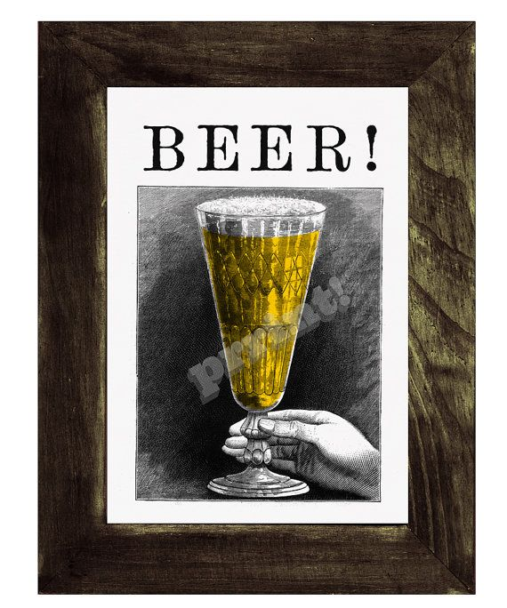 Guys gift.Beer print  BEER a pint of beer collage Old by PRRINT, $8.99