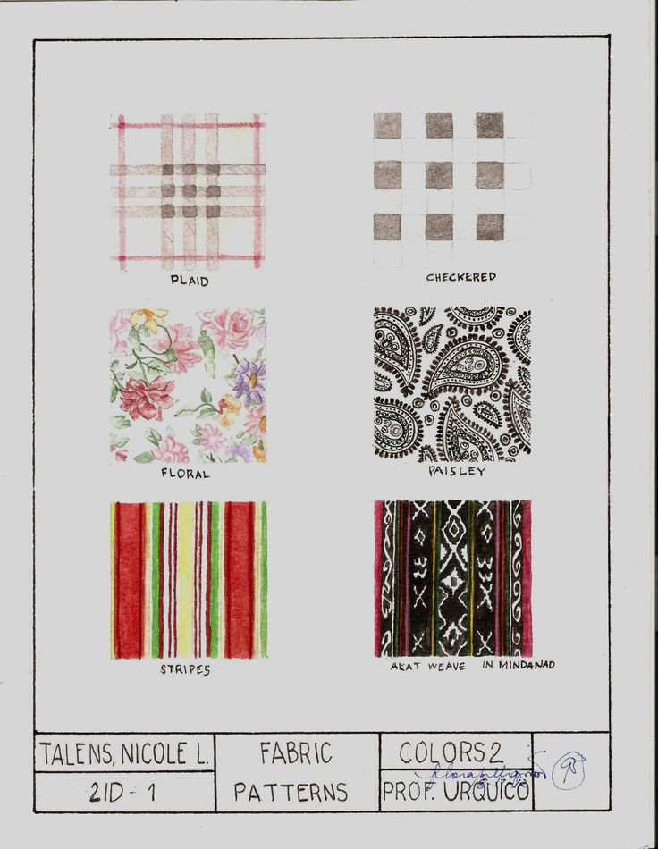 """Subject: Colors 2: Rendering  Fabric Patterns  Watercolor on 8.5""""x11"""" Watercolor Paper"""