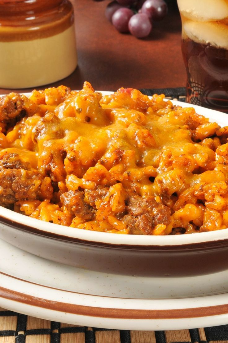 Spanish Rice Bake With Ground Beef And Cheese Recipe A Family Favorite Comfort Food Groundbeef S Recipes Spanish Rice Spanish Rice Recipe With Ground Beef