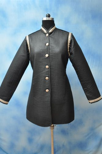 Black Silk Quilted Jacket, Front open, Formal wear, Chinese collar and Full sleeves.