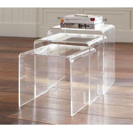 85.00   HomCom 3pc Acrylic Stackable Nesting End Side Tables - Clear - Walmart.com