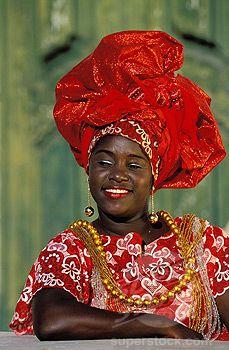 Brazil, Bahia state, Salvador, Bahian woman wearing traditional clothes