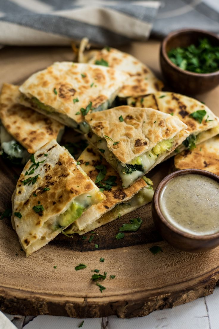 Mini Spinach and Shrimp Quesadillas with Avocado are the perfect after school, after work, or late night snack! They are super simple, quick, and delicious!