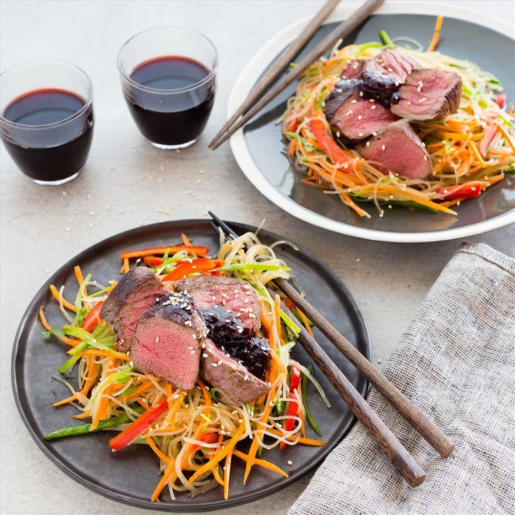 SEARED VENISON WITH PLUM GINGER SAUCE AND VERMICELLI SALAD By Nadia Lim
