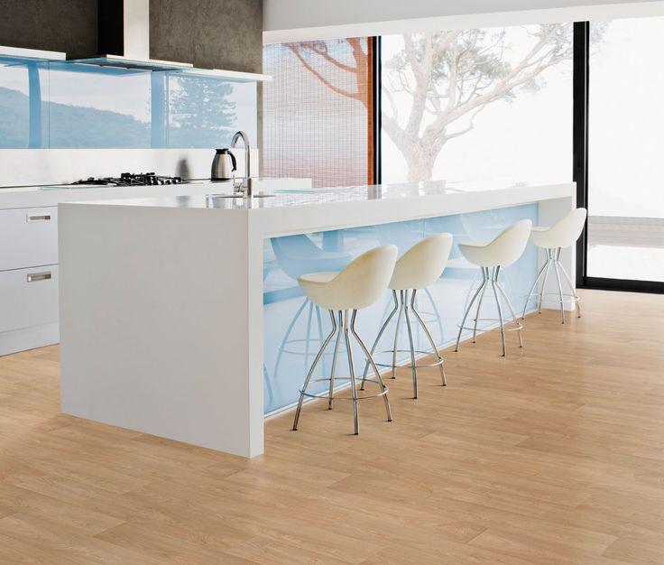 Elegant Minimalist Kitchen With Bamboo Flooring