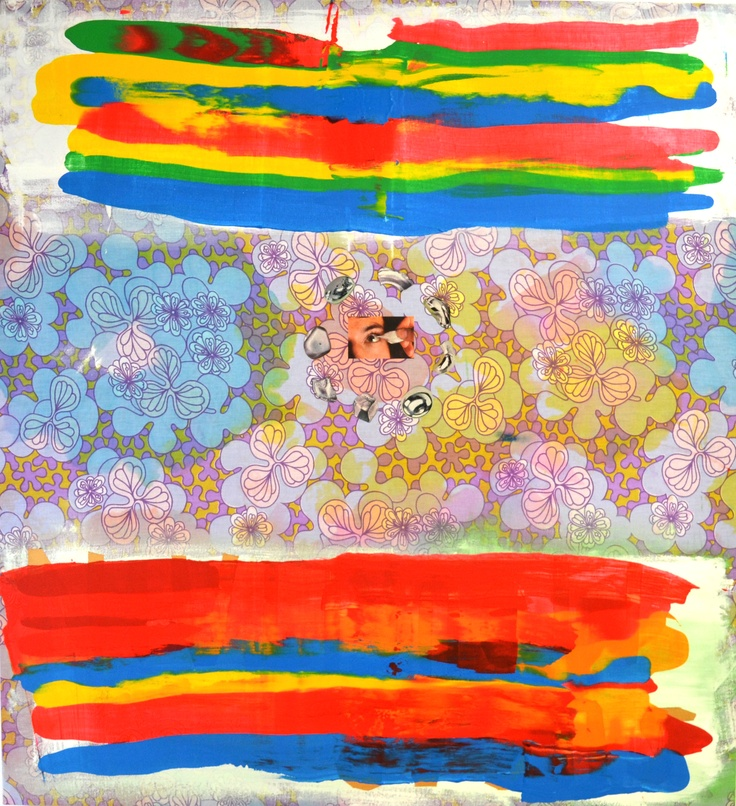 Cotton Fields, 2013. Acrylic, ink and collage on found bed sheet. Original artwork by Minna Gilligan