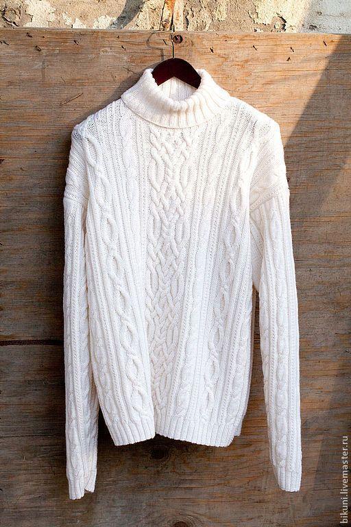 Купить Большой размер! Мужской шерстяной вязаный свитер с аранами. - шерстяной вязаный свитер