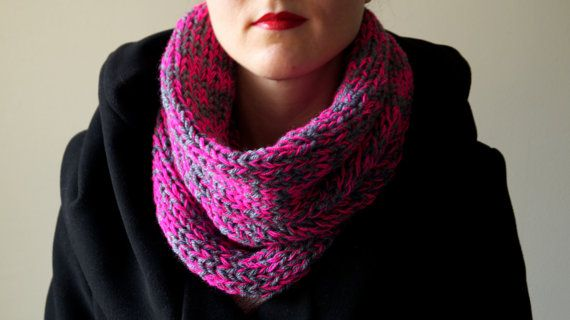 grey hot pink womens cowl cable chunky neck by LOVELYCHICKNITTING