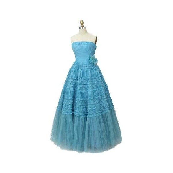 1950s Strapless Aqua Ruffle Tulle Formal Gown ($265) ❤ liked on Polyvore featuring dresses, gowns, 1950s aqua ball gown, 50s aqua ball gown, 50s aqua prom gown, blue prom dresses, blue formal gown, blue gown, vintage gowns and formal gowns