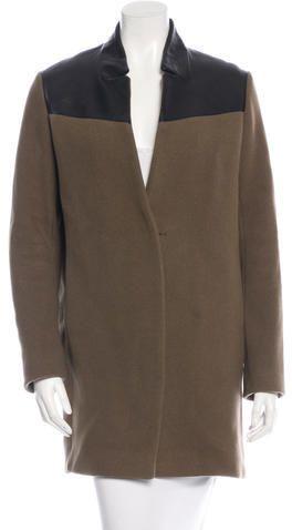 Maje Leather Paneled Wool Coat