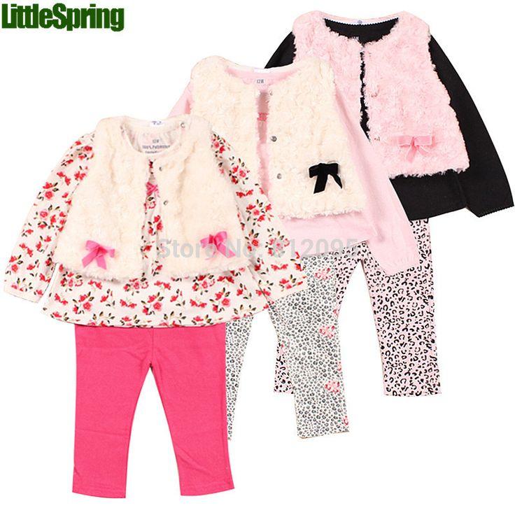 Розничная 2016 новый стиль девочка в набор весна осень зима одежда набор топы + кастрюли + жилет детская одежда наборы девочка одежды