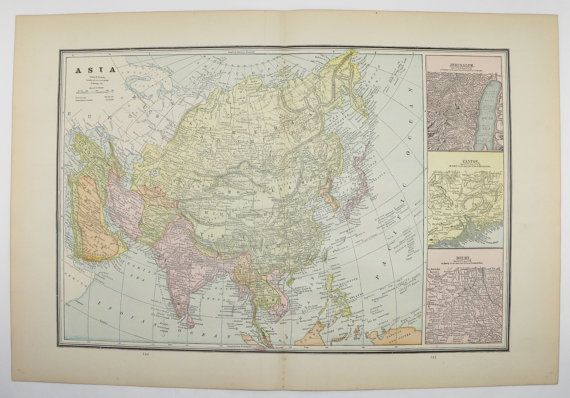 1889 Antique Asia Map, China, Middle East Map, India Russian Empire Map, World Geography Art, Asian Wall Map, Far East Map available from OldMapsandPrints on Etsy #EtsyGifts #AsiaMap #OldMapsandPrints