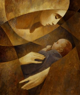 Abstract Art Mary and Jesus