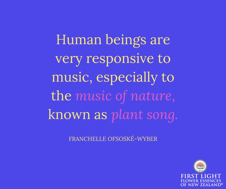 Human beings are very responsive to music, especially to the music of nature, known as plant song.