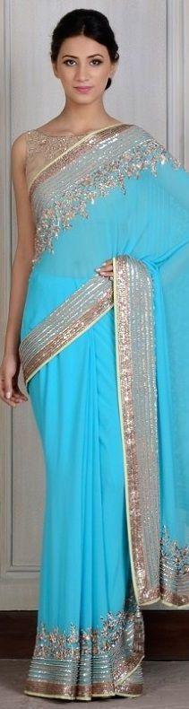 Manish Malhotra Saree. Sky blue designer Saree with gold embroidery. #DesignerSaree #BlueSaree #Saree