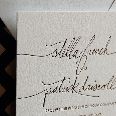 Linda and Harriet Letterpress Invites. I love letterpress that moves away from the standard block type feel.