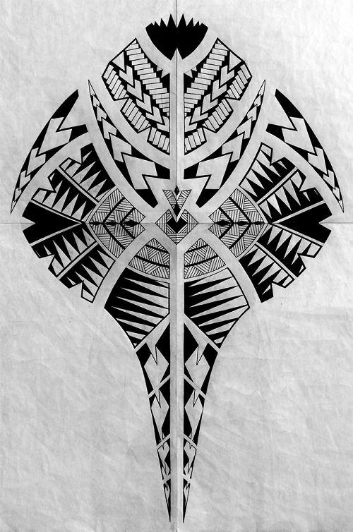 Snake Head Polynesian with Spear Head Tattoo