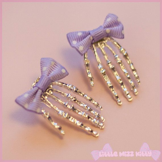 Skull Hand & Bow Earrings  creepy cute by LittleMizzKitty on Etsy, £6.00